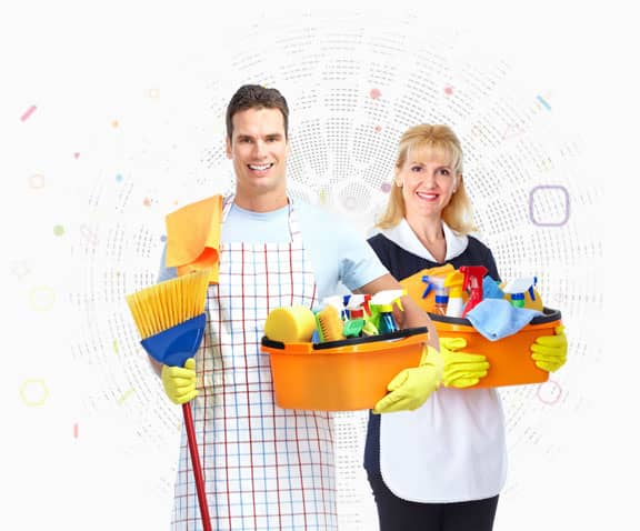 man and woman holding mop and bucket full of bottles and rags
