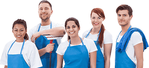three women and two men wearing blue apron standing with mop and rag in hand