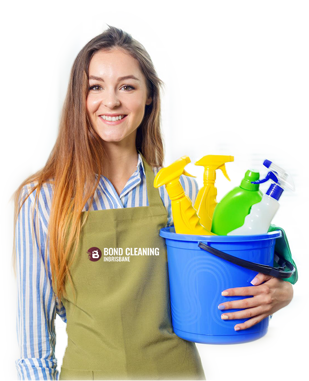 beautiful young woman holding bucket full of spray bottles
