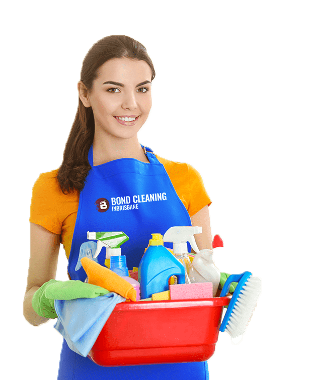 smiling woman holding bucket full of cleaning supplies