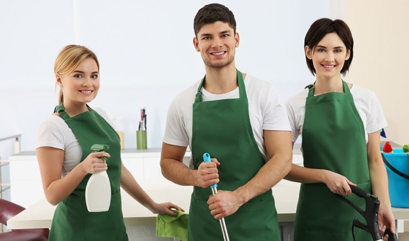 team of professionals with spray bottles and wipers