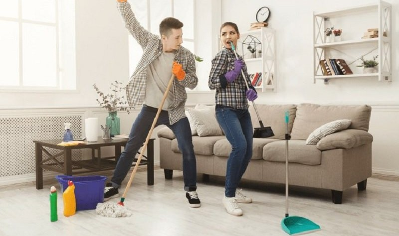 young couple preparing to spruce up their rental property